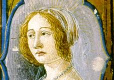 Bust of Queen Beatrix (frontispiece of missal, detail) Parchment, tempera, gold; sheet size: 40×28.4 cm Bruxelles, Bibliotheque Royale Ms. 9008, fol. 8v.  Missale Romanum)