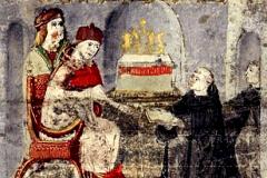 Ransanus offers his work to King Matthias Hunyadi (detail of codex page) Parchment, tempera, gold; sheet size: 24.7×16.3 cm National Széchényi Library, Manuscript Collection, Cod. Lat. 249, 17v Ransanus, Petrus: Epitoma rerum Hungaricarum