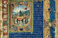 Right frontispiece with King Matthias Hunyadi's triumph in Vienna and his coat-of-arms Parchment, tempera, gold; sheet size: 35.8×22.2 cm National Széchényi Library, Manuscript Collection, Cod. Lat. 417, fol. 1r Philostratus, Flavius: Heroica, - De vitis sophistarum. - Epistolae; Philostratus, Lemnius: Imagines, Lat. trad., cum praefatione ad Matthiam regem Hungariae ab Antonio de Bonfinis