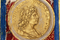 King Matthias Hunyadi's bust (detail of frontispiece) Parchment, tempera, gold; sheet size: 35.8×22.2 cm National Széchényi Library, Manuscript Collection, Cod. Lat. 417, fol. Iv (detail) Parchment, tempera, gold;  sheet size: 35.8×22.2 cm Philostratus, Flavius: Heroica, – De vitis sophistarum. – Epistolae; Philostratus, Lemnius: Imagines, Lat. trad., cum praefatione ad Matthiam regem Hungariae ab Antonio de Bonfinis