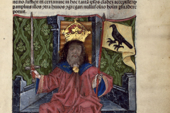 Figure of King Matthias Hunyadi sitting on the throne (book page)                                                                                                                                                                                          Parchment, colored woodcut, sheet size: 13.4×10.8 cm National Széchényi Library, Collection of Early Printed Books, Inc. 1143, t5 r János Thuróczy: Chronica Hungarorum. – Augsburg, Erhard Ratdolt, pro Theobald Feger, June 3, 1488