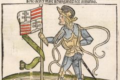 Standing portrait of King Matthias Hunyadi (book page) Paper, woodcut; sheet size: 38.5×25.8 cm National Széchényi Library, Collection of Early Printed Books, Inc. 466, D2r Johann Lichtenberger: Prognosticatio. – [Heidelberg, Heinrich Knoblochtzer, after April 1, 1488]