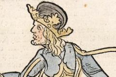 Standing portrait of King Matthias Hunyadi (detail of book page) Paper, woodcut; sheet size: 38.5×25.8 cm National Széchényi Library, Collection od Early Printed Books, Inc. 466, D2r Johann Lichtenberger: Prognosticatio. – [Heidelberg, Heinrich Knoblochtzer, after April 1, 1488]