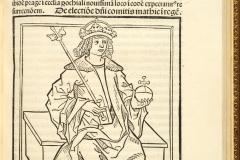 King Matthias Hunyadi sitting on the throne (book page) National Széchényi Library, Collection of Early Printed Books, Inc. 668, fol. 147r János Thuróczy: Chronica Hungarorum. Brno, [Konrad Stahel and Matthias Preinlein], 1488