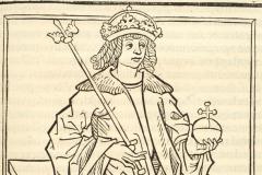 King Matthias Hunyadi sitting on the throne (detail of book page) National Széchényi Library, Collection of Early Printed Books, Inc. 668, fol. 147r János Thuróczy: Chronica Hungarorum. Brno, [Konrad Stahel and Matthias Preinlein], 1488