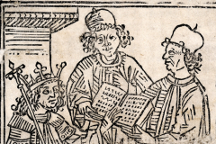 King Matthias Hunyadi surrounded by his scholars (book page) Paper, woodcut; size of woodcut: 13.5×9 cm National Széchényi Library, Collection of Early Printed Books, Inc. 834, fol. 14 Constitutiones incliti regni ungariae. [Leipzig, Konrad Kachelofen, before July 31, 1490]
