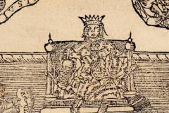 King Matthias Hunyadi sitting on the throne (book page) Paper, woodcut; sheet size: 10×16 cm National Széchényi Library, Collection of Early Printed Books, RMK I. 118, fol. 113v Gáspár Heltai: Chronica az Magyaroknac dolgairol (Chronicle of the Hungarans' Past Deeds). Kolozsvár, 1575