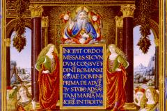 Kódexoldal Hunyadi Mátyás és Beatrix mellképével (misekönyv címlapja) Pergamen, tempera, arany; lapméret: 40×28,4 cm Bruxelles, Bibliotheque Royale Ms. 9008, fol. 8v.  Missale Romanum