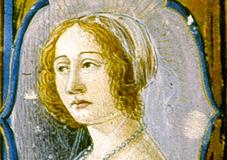Beatrix mellképe (misekönyv címlapja, részlet) Pergamen, tempera, arany; lapméret: 40×28,4 cm Bruxelles, Bibliotheque Royale Ms. 9008, fol. 8v.  Missale Romanum)