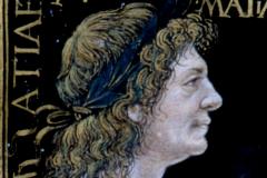 Hunyadi Mátyás mellképe (kódexoldal részlete) Pergamen, tempera és arany; lapméret: 21x15 cm  Volterra, Biblioteca Guarnacci, Cod. Lat. 5518. IV. 49. 3. 7, fol. 5r  Marlianus Mediolanensis, Ioannes Franciscus: Epithalamium in nuptiis Blancae Mariae Sfortiae et Iohannis Corvini