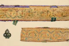 Az OSZK Cod. Lat 241 jelzetű kódexének hosszmetszése, csatja és lábmetszése (Végh Gyula akvarellje)