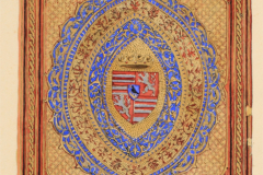 A wolfenbütteli Cod. Guelf. 39. Aug. 4 jelzetű kódex előtáblája (Végh Gyula akvarellje fénykép után)