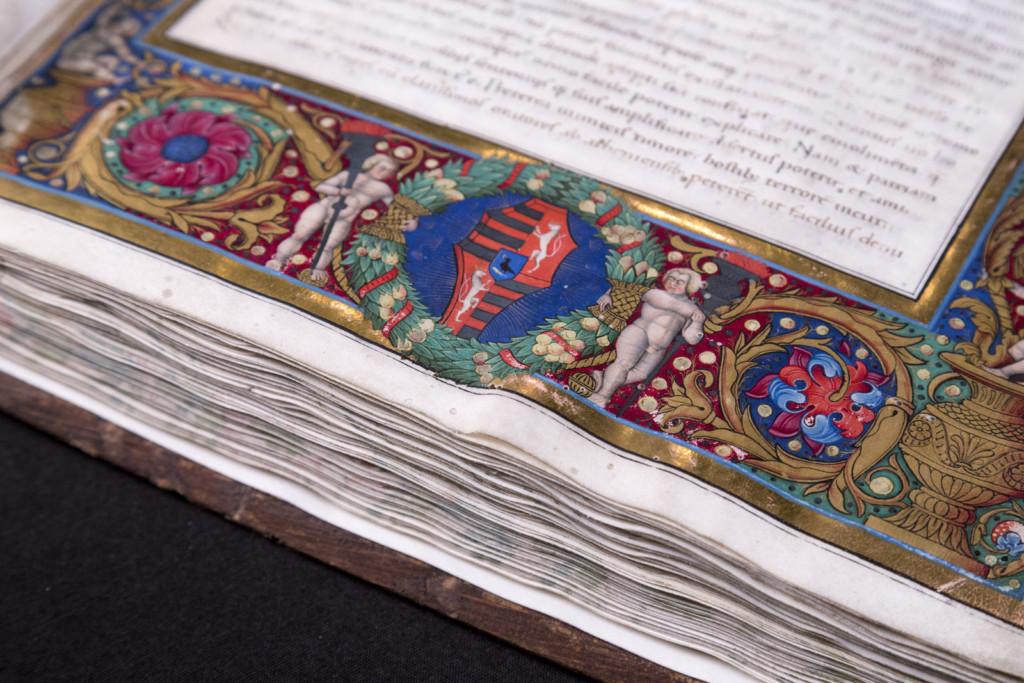 Detail of the decorative page of Trapezuntius corvina (OSZK Cod. Lat. 281 f2r) Photo by Máté Török